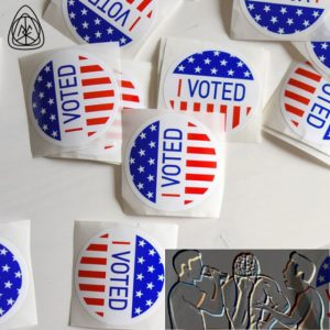 I Voted stickers with Thunken Philosofers logo