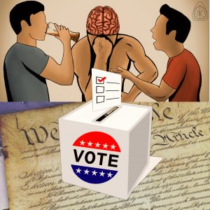 Ballot box on top of US Constitution and Thunken Philosofers logo