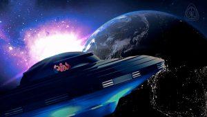 Aliens UFO flying toward Earth