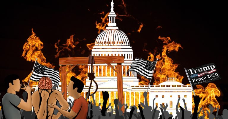 Fire and rioters around the Capitol Building